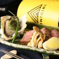 峠下牛と牡蠣を 日本酒とご一緒に