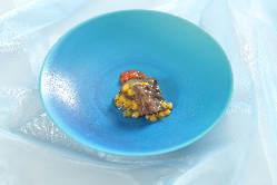 ディナー温前菜:菜の花とベーコンのココットグラタン