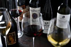 ソムリエ厳選のワインは 世界各国100種類以上の 品揃え