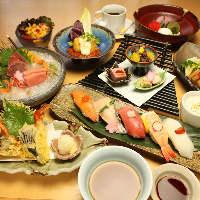 当日でもご注文可能な「寿司盛りコース」はボリューム満点◎