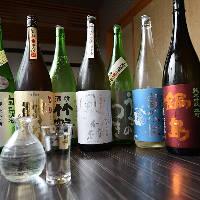 日本酒は、広島県産や新作の銘柄を中心に常時20種取り揃えてます