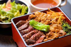 ランチの二色重はかなりお得!牛ヒレ肉のステーキが楽しめます!