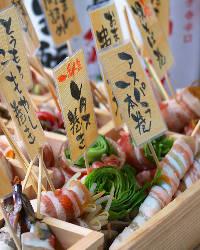 新名物「野菜巻き串」。ジューシーな豚肉と野菜のコラボが絶品!