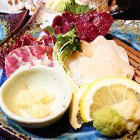 「熊本直送馬刺」 食材にとことんこだわっております。